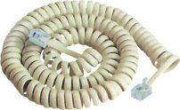 Καλώδιο Ακουστικού 4P4C Spiral Λευκό 2.1m